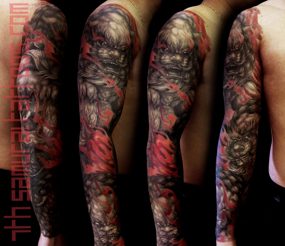 Fudogs in flames and rabbit pendant with red highlights Kai 7th Samurai mens sleeve asian tattoo