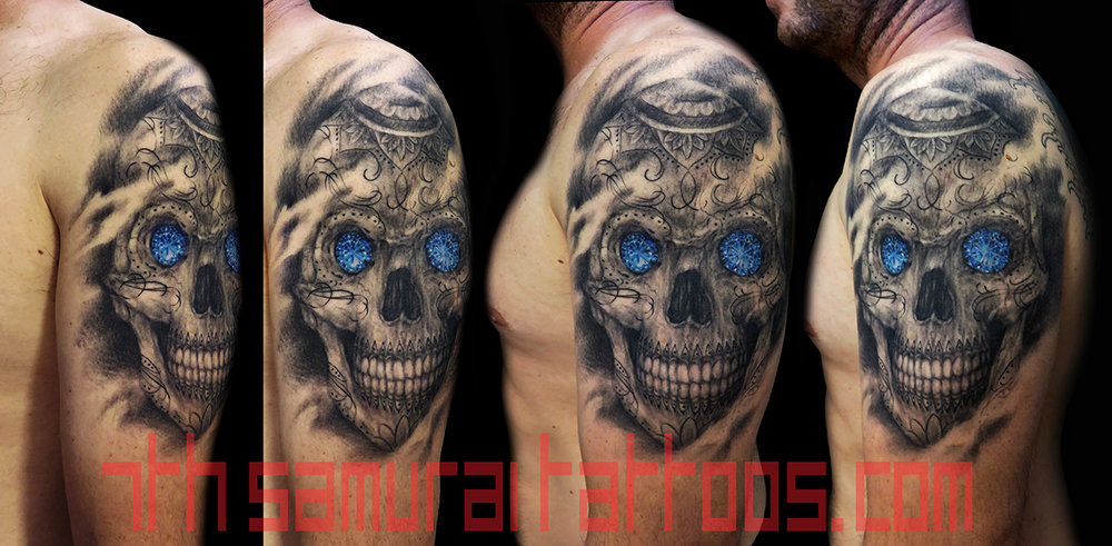 Sugar Skull Day of Dead with blue Jewel Birthstone Kai 7th Samurai mens arm tattoo