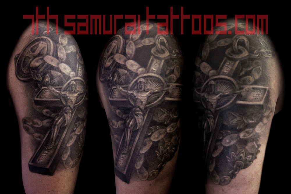 Rosary Jesus Cross Kai 7th Samurai mens arm tattoo