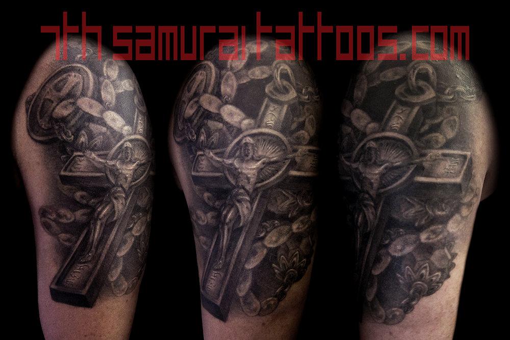 Rosary Jesus Cross Kai 7th Samurai mens arm tattoo