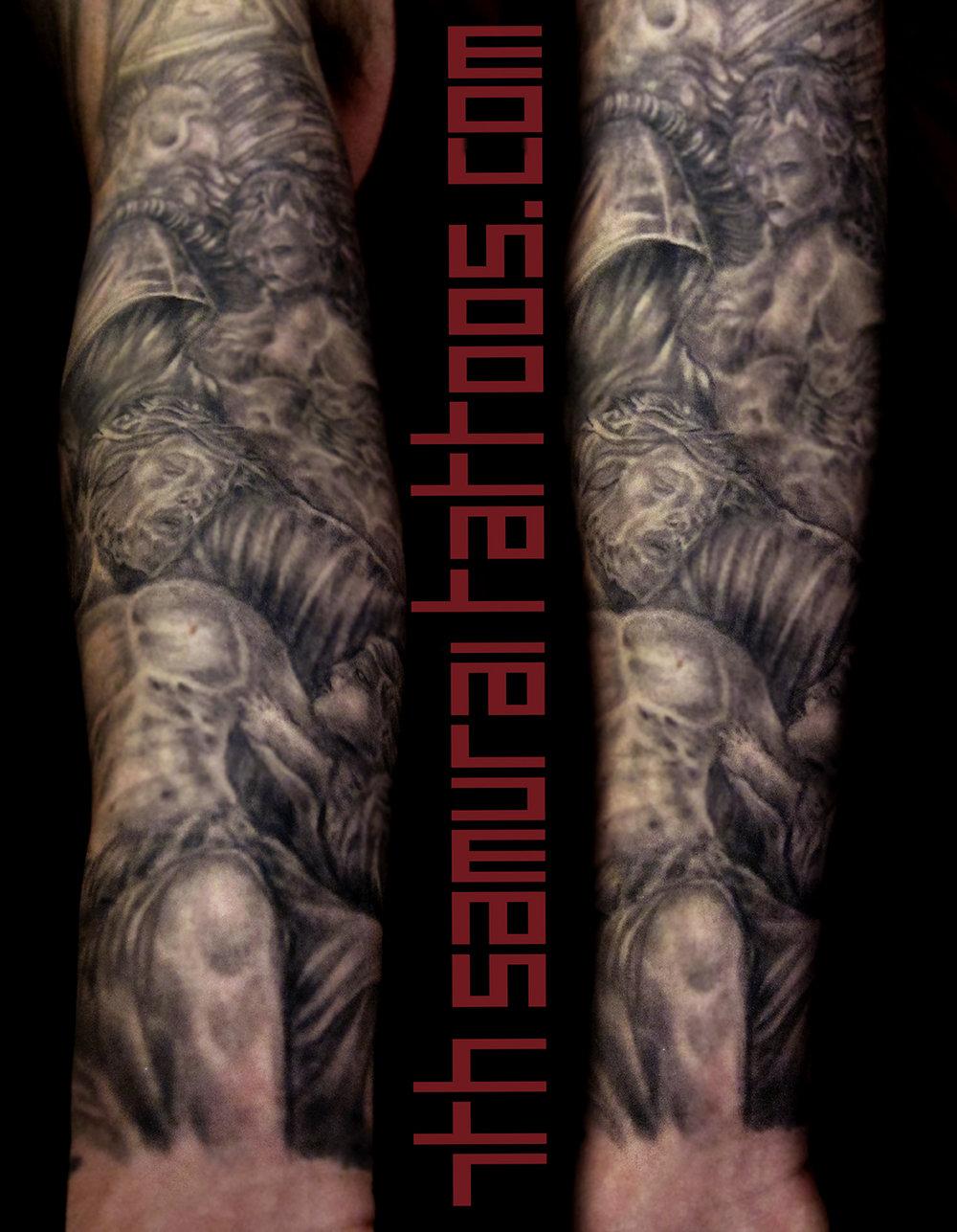 Jesus Statue Cloaked Death Cherubs baby angels Kai 7th Samurai mens arm tattoo