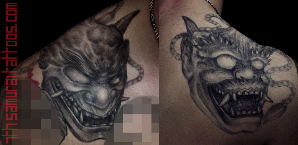 Noh Oni mask evil Laugh now Cry later Kai 7th Samurai mens tattoo