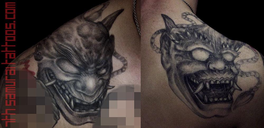 Noh Oni mask evil Laugh now Cry later Kai 7th Samurai mens tattoo