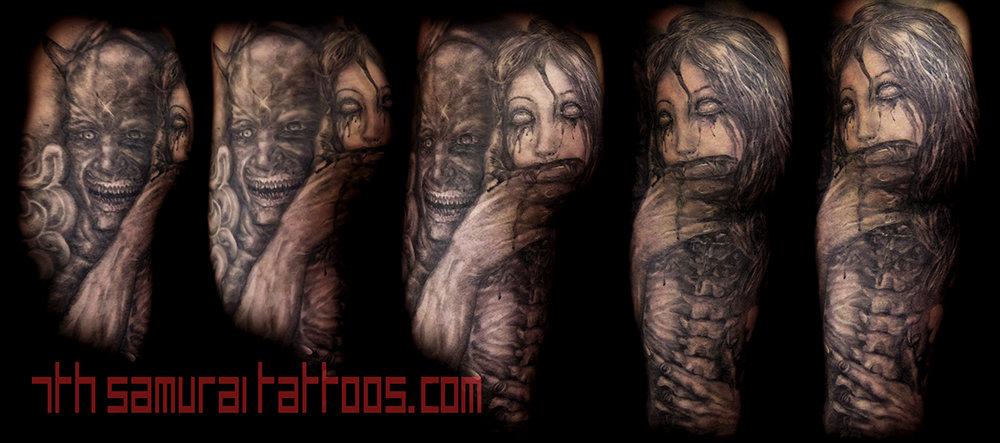Morbid Demon holding severed woman head Kai 7th Samurai mens butt tattoo