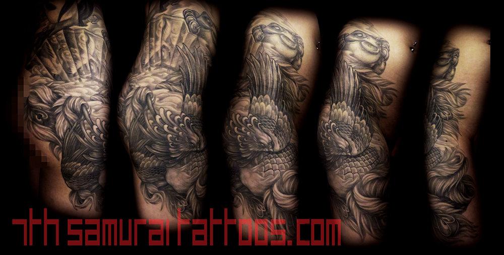 Phoenix and Money Frog with Geisha Fan Kai 7th Samurai womans thigh tattoo