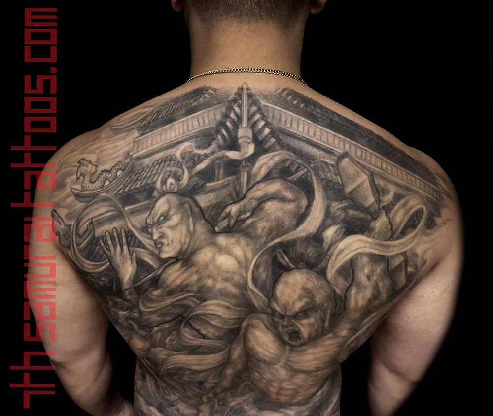 9.5 PORT 16jun24 IMG_2159 bradley temple Nio guardians Agyo Ungyo Raijin Fujin fighting demons buddhist 7th Samurai Kai Asian backpiece close up2.jpg