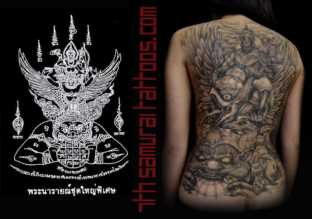 9.5 PORT Phra Narai Song Khrut yant, Lord Vishnu, Ramayana, Phra Narai, Garuda 7th Samurai Kai Thai Indonesian women's backpiece 2.jpg