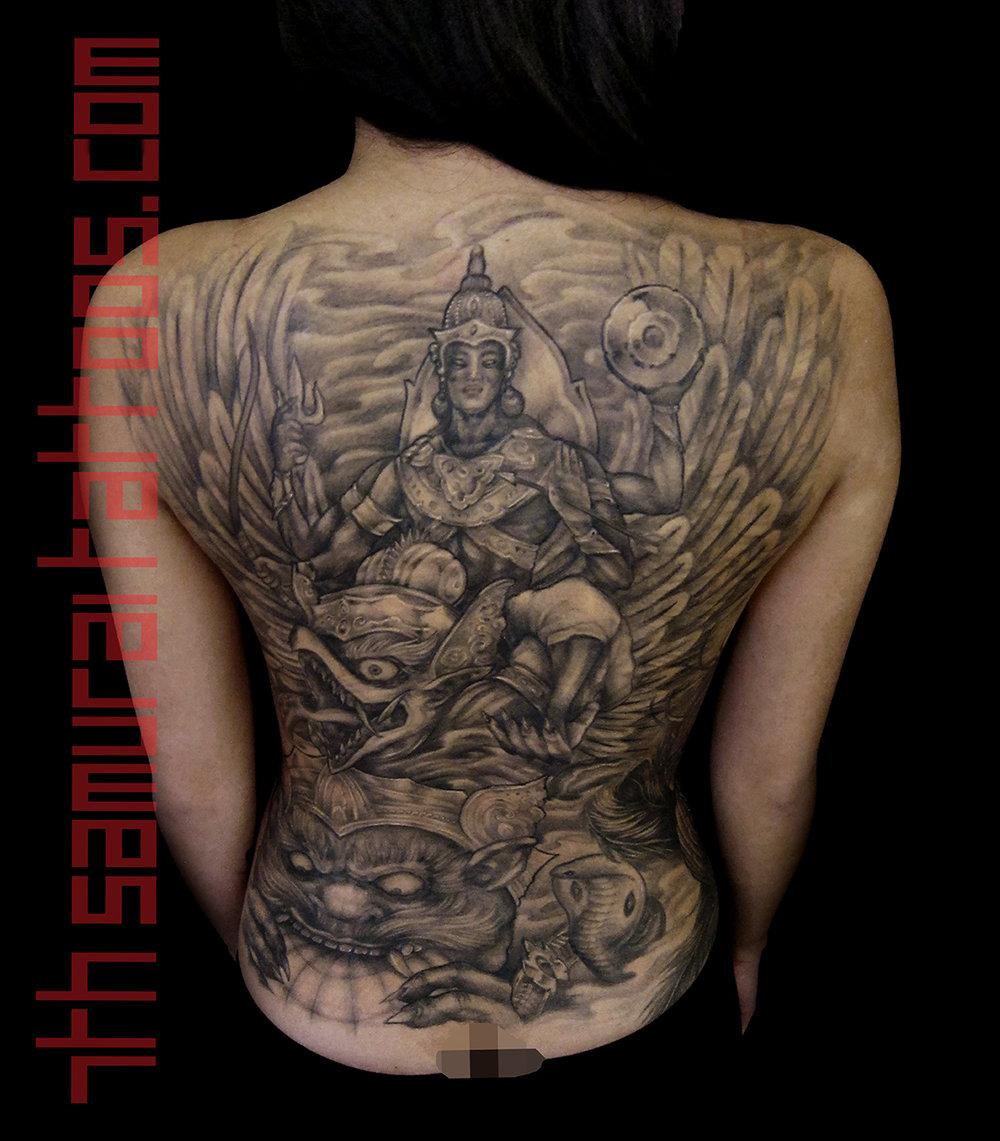 9.5 PORT Phra Narai Song Khrut yant, Lord Vishnu, Ramayana, Phra Narai, Garuda 7th Samurai Kai Thai Indonesian women's backpiece 1.jpg