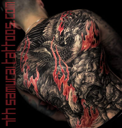Men's asian Fudogs Phoenix red flame highlights back piece tattoo 5.png