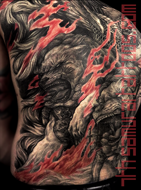 Men's asian Fudogs Phoenix red flame highlights back piece tattoo 6.png