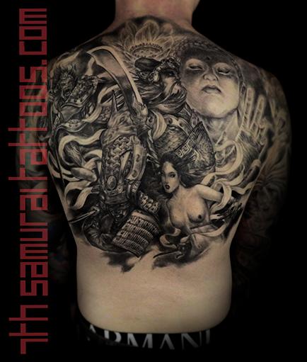 Men's asian deity Buddha Lotus Samurai naked Geisha Monkey King back piece tattoo 3.png