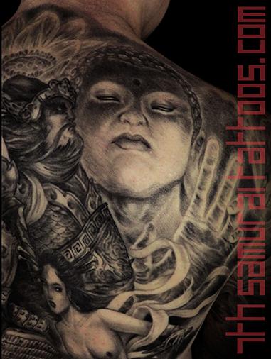 Men's asian deity Buddha Lotus Samurai naked Geisha Monkey King back piece tattoo 4.png