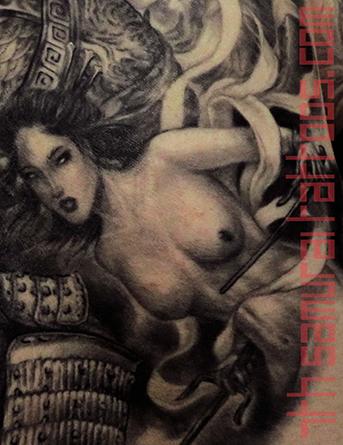 Men's asian deity Buddha Lotus Samurai naked Geisha Monkey King back piece tattoo 6.png