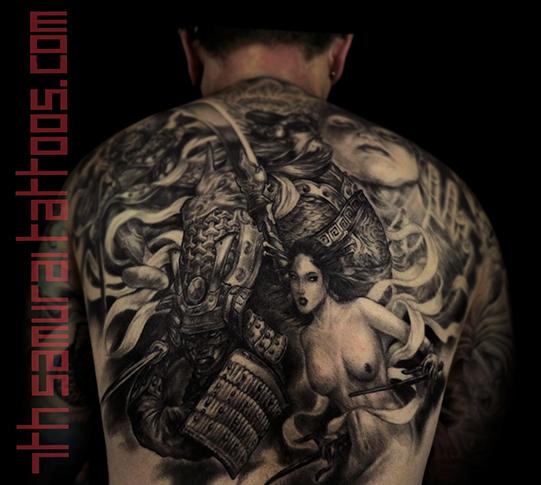 Men's asian deity Buddha Lotus Samurai naked Geisha Monkey King back piece tattoo 8.png