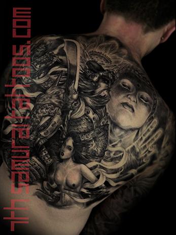 Men's asian deity Buddha Lotus Samurai naked Geisha Monkey King back piece tattoo 9.png
