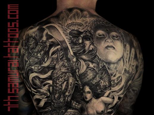 Men's asian deity Buddha Lotus Samurai naked Geisha Monkey King back piece tattoo 10.png