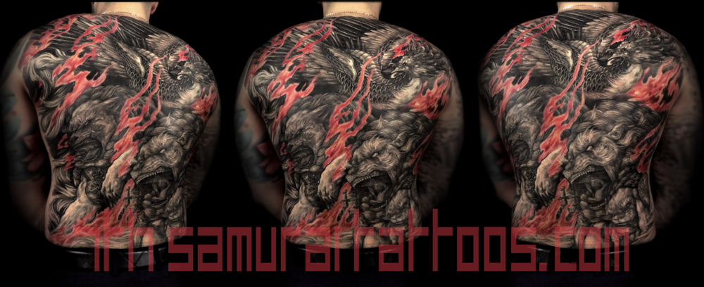 Fudogs and phoenix with red flame highlights men's asian back piece tattoo kai 7th samurai