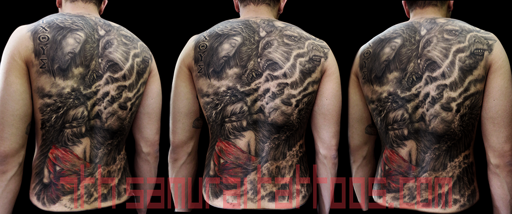Men's religous Ezekiel 4 headed eagle tiger ox Jesus temptation woman red highlights robes back piece tattoo 1.png