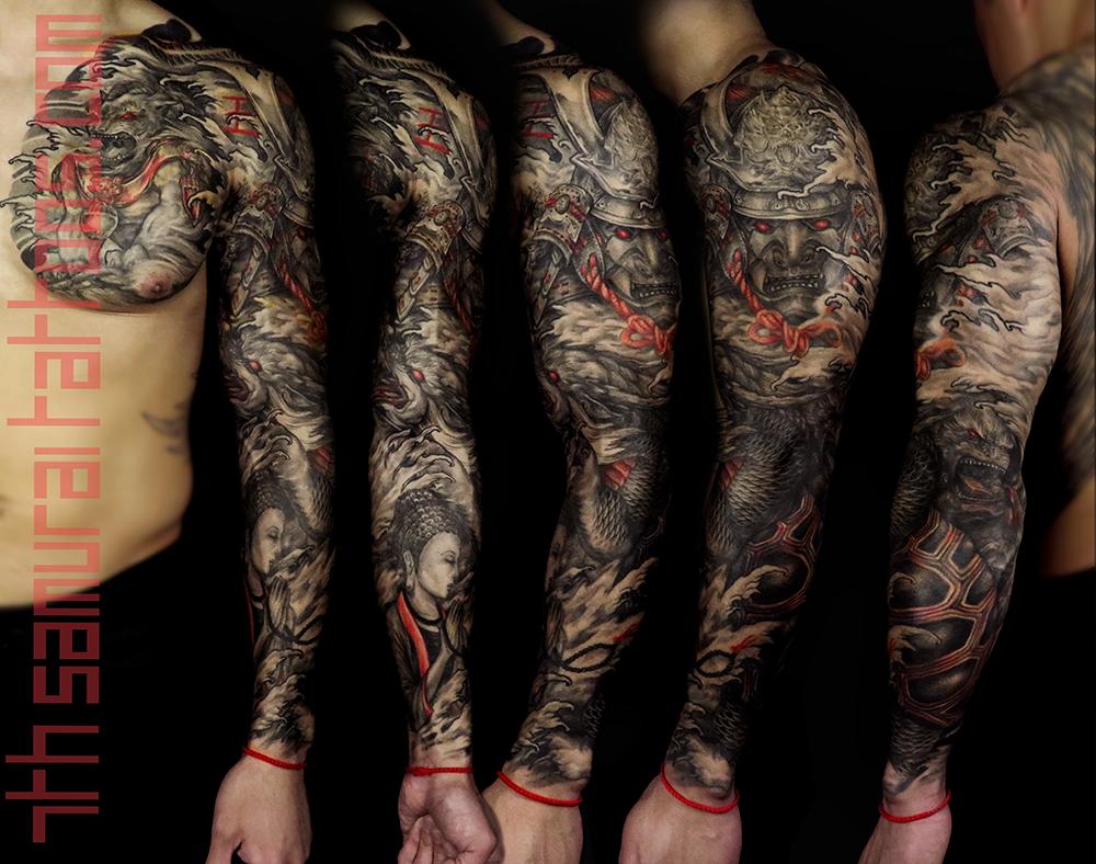Men's asian deity female Buddha Dragon turtle tortoise Fudogs Samurai Arowana water Ruyi red highlights sleeve tattoo 1.png