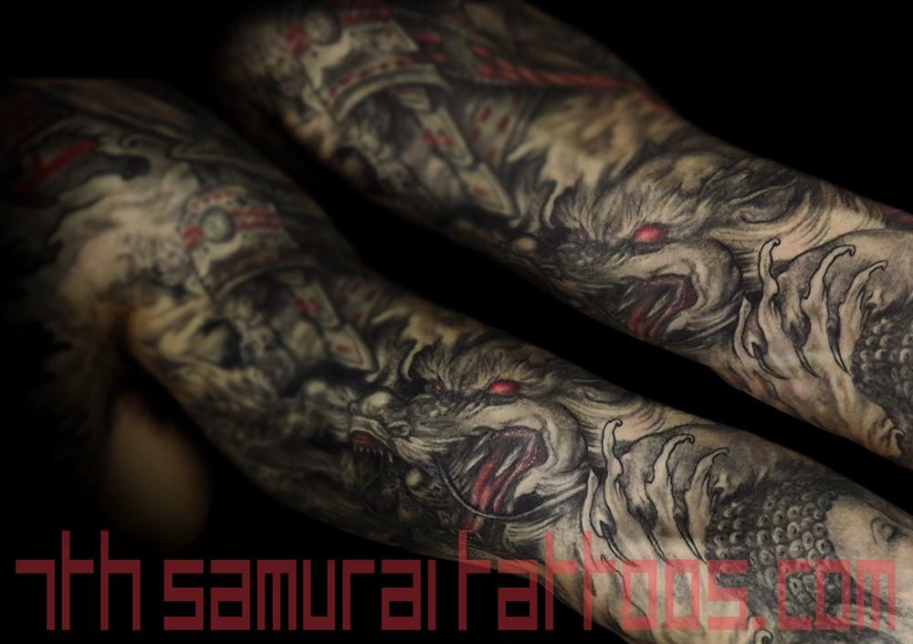Men's asian deity female Buddha Dragon turtle tortoise Fudogs Samurai Arowana water Ruyi red highlights sleeve tattoo 5.1 blurred.png