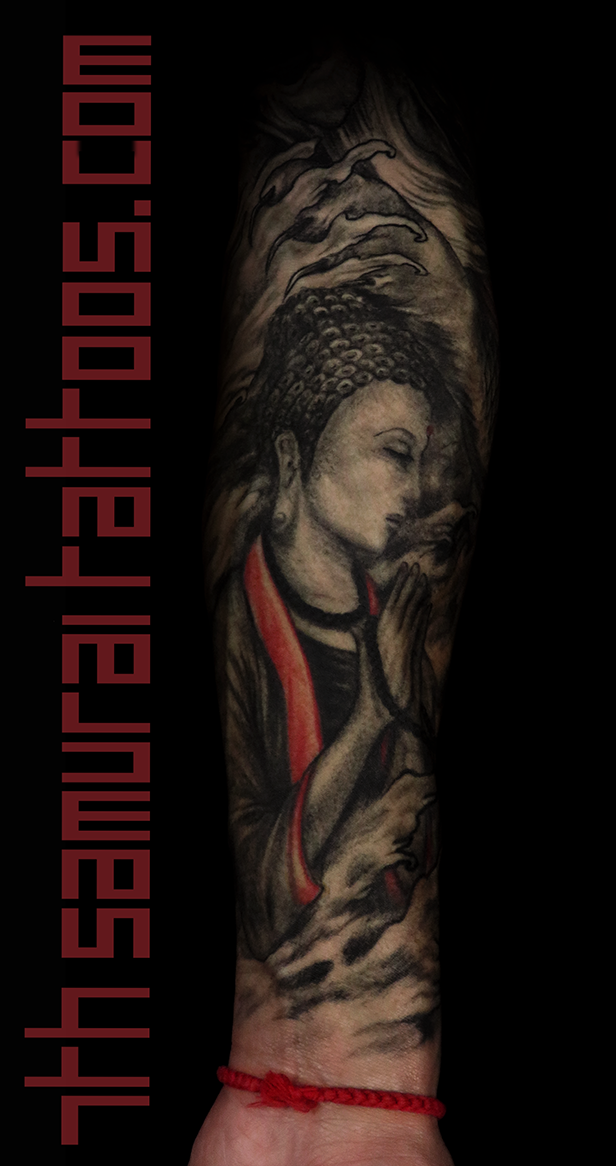 Men's asian deity female Buddha Dragon turtle tortoise Fudogs Samurai Arowana water Ruyi red highlights sleeve tattoo 7.png