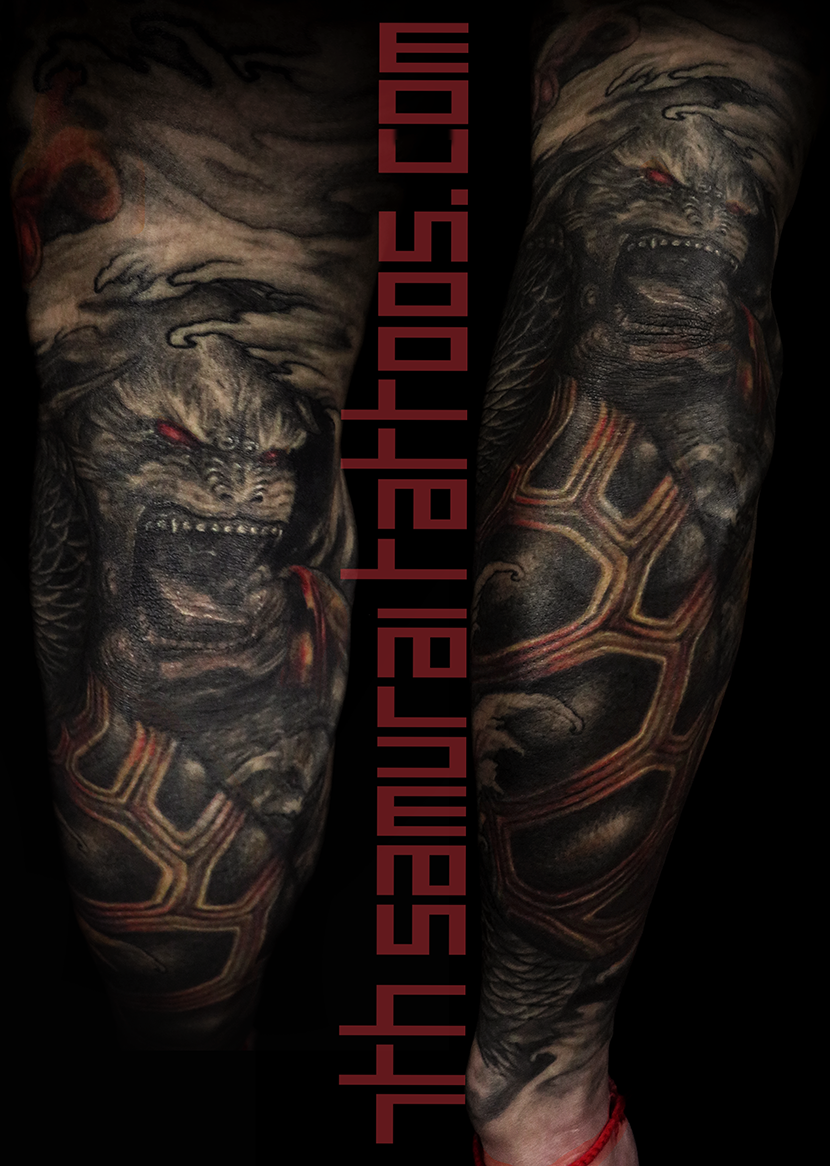 Men's asian deity female Buddha Dragon turtle tortoise Fudogs Samurai Arowana water Ruyi red highlights sleeve tattoo 9.png