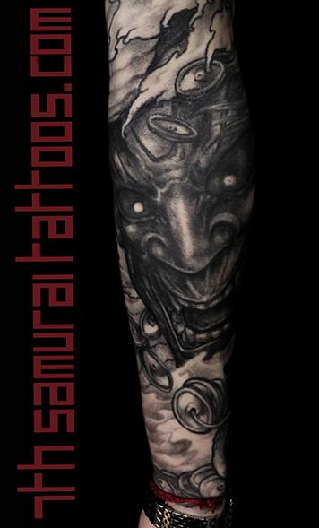 Men's asian Snake Noh mask Hannya water Money Frog coins sleeve tattoo 5.png