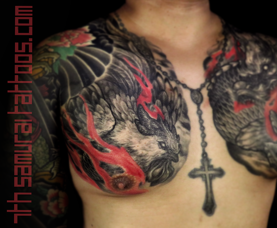 Men's asian horoscope astrology Chinese Zodiac year of Rooster Cock Dragon red highlights flames chest tattoo 3.png