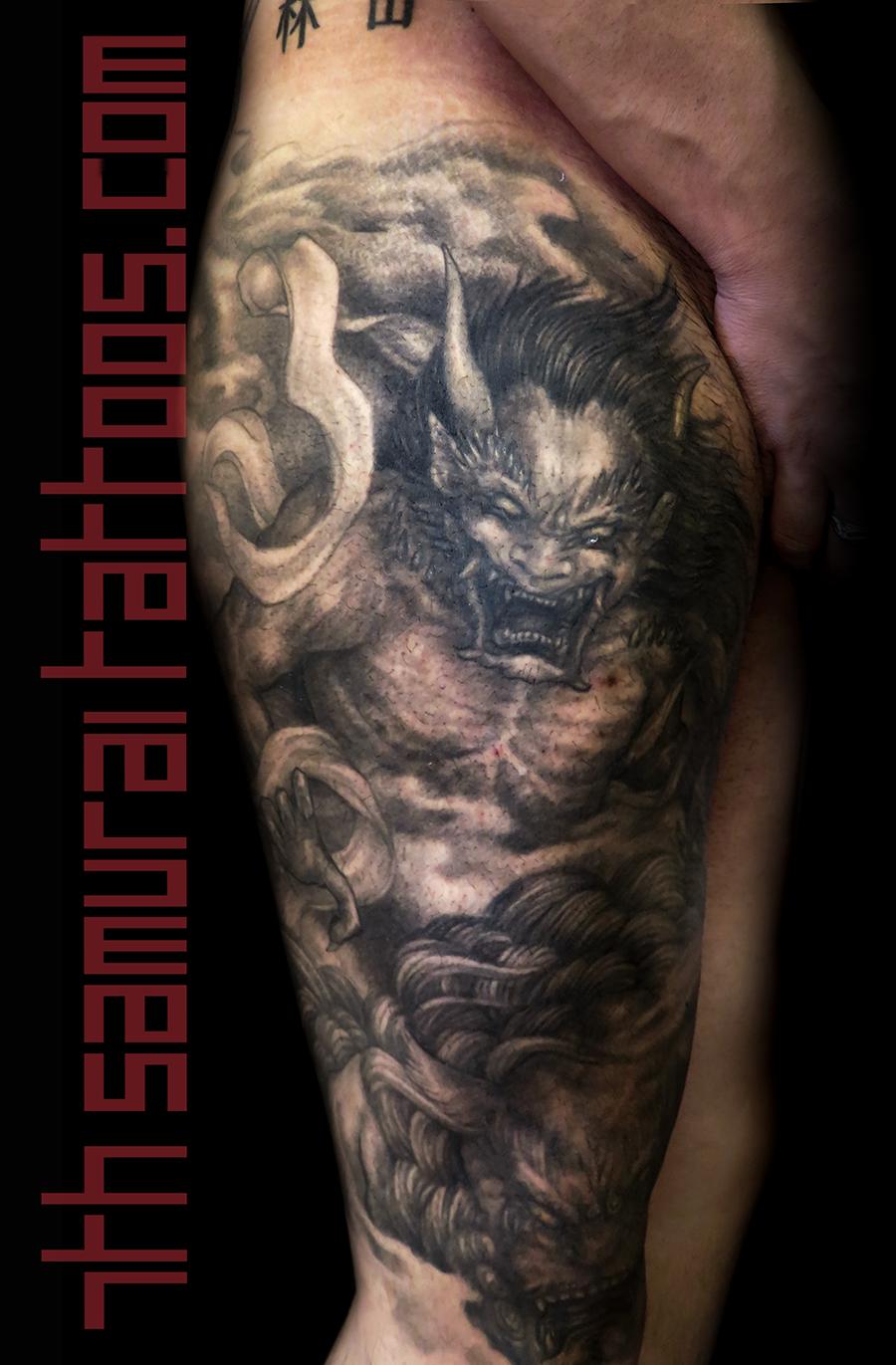 Men's japanese demon Oni with Fudog leg knee asian tattoo 2.png