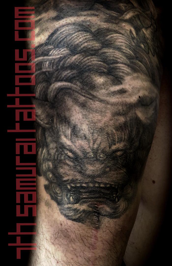 Men's japanese demon Oni with Fudog leg knee asian tattoo 3.png