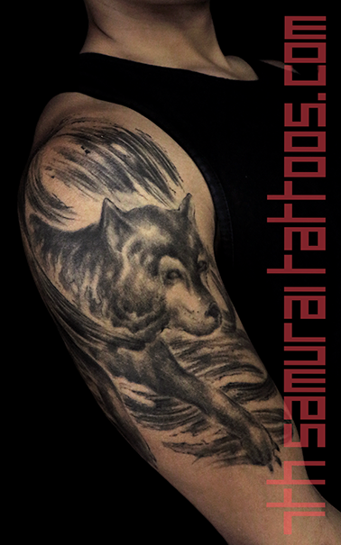 wolf sumi watercolor men's asian upper arm tattoo kai 7th samurai