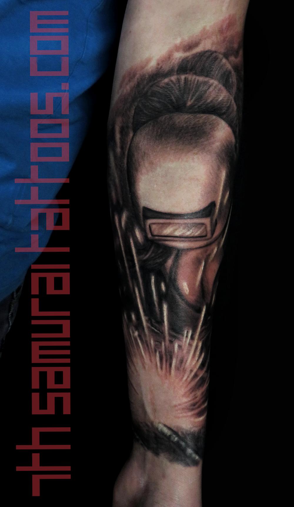 welder welding pipe fitter pin up cleavage woman men's forearm tattoo kai 7th samurai