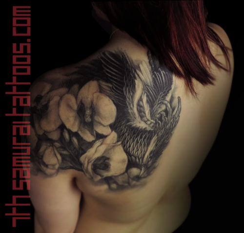 Phoenix Orchids Asian Womens Shoulder Back Tattoo Kai 7th Samurai