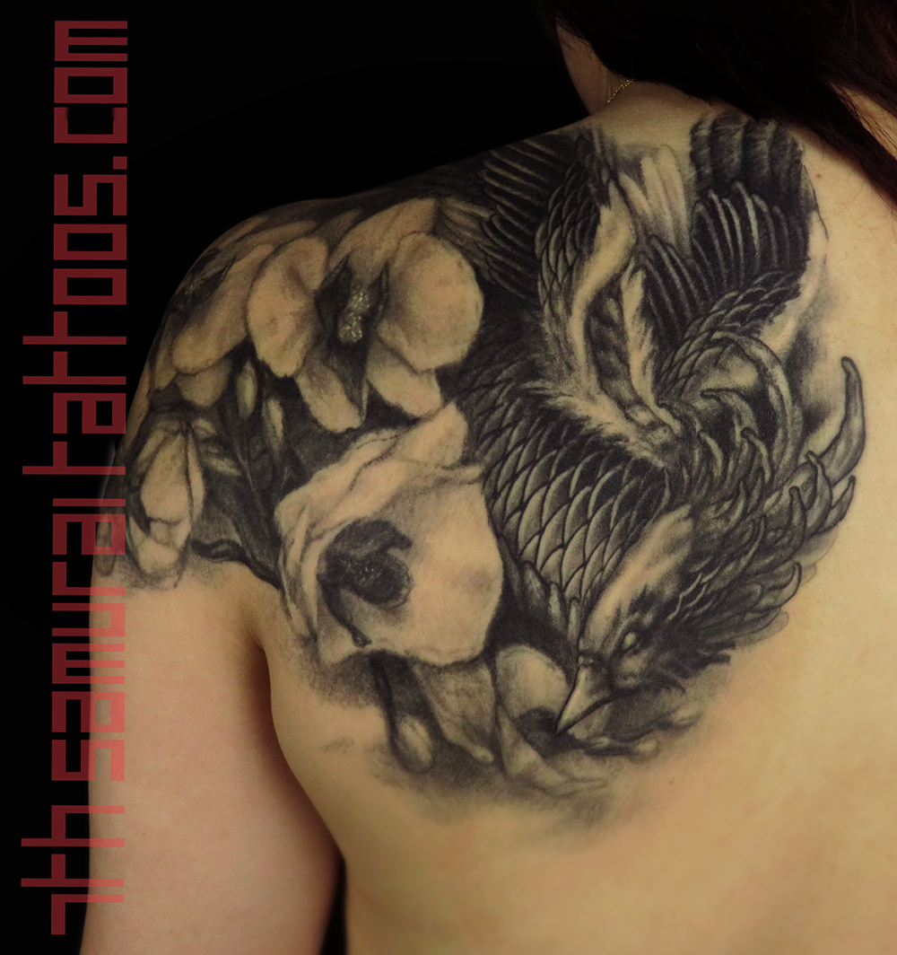Woman's asian phoenix with orchids upper shoulder back piece tattoo 2.png