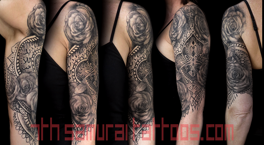 Paisley Henna Yoga Roses Women S Sleeve Tattoo Kai 7th Samurai 7th