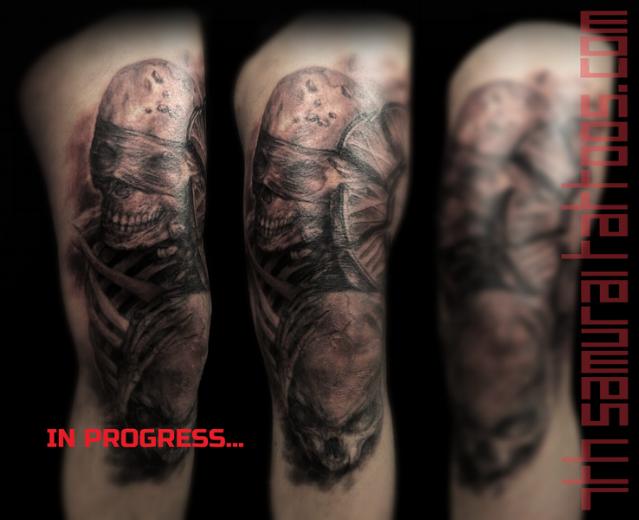 hear see no evil skeletons skull clock time piece morbid leg thigh knee tattoo kai 7th samurai