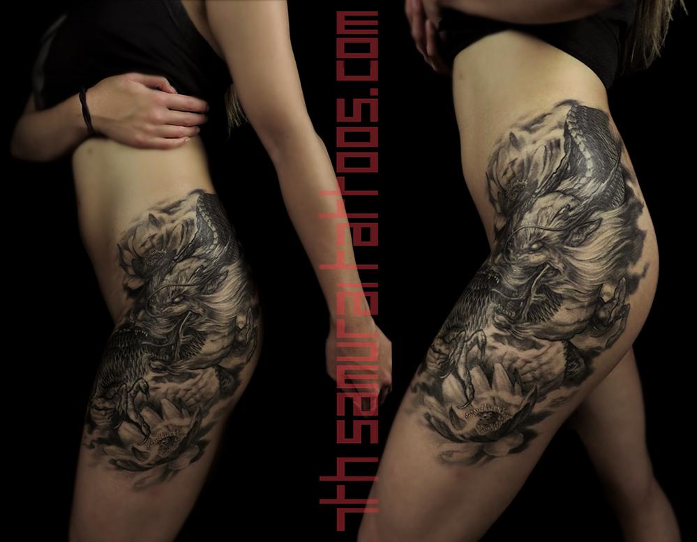 dragon with 2 lotus flowers in smoke women's asian thigh leg hip piece tattoo kai 7th samurai