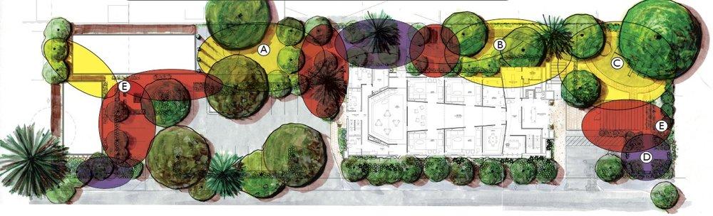 Landscape design by    Corlett Landscape Architecture