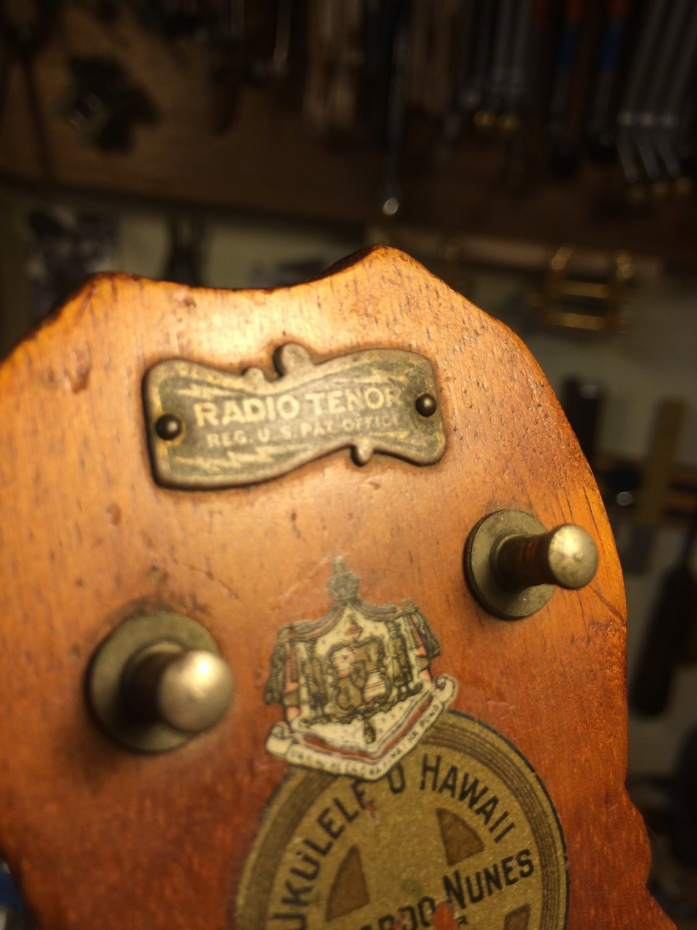 "One of the more rare ukes to come in for restoration, a ""Radio Tenor"" Leonardo Nunes."