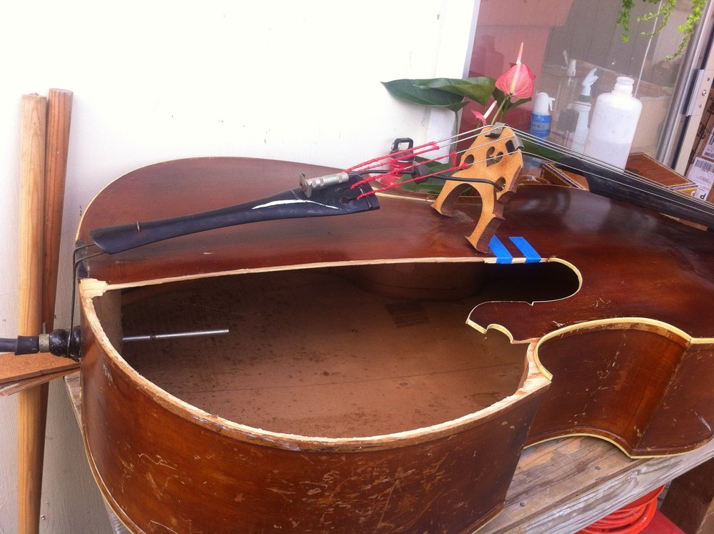 Wonderful old German Upright Bass before...