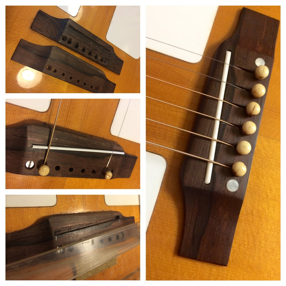 Making a brazilian Rosewood bridge with added string compensation.