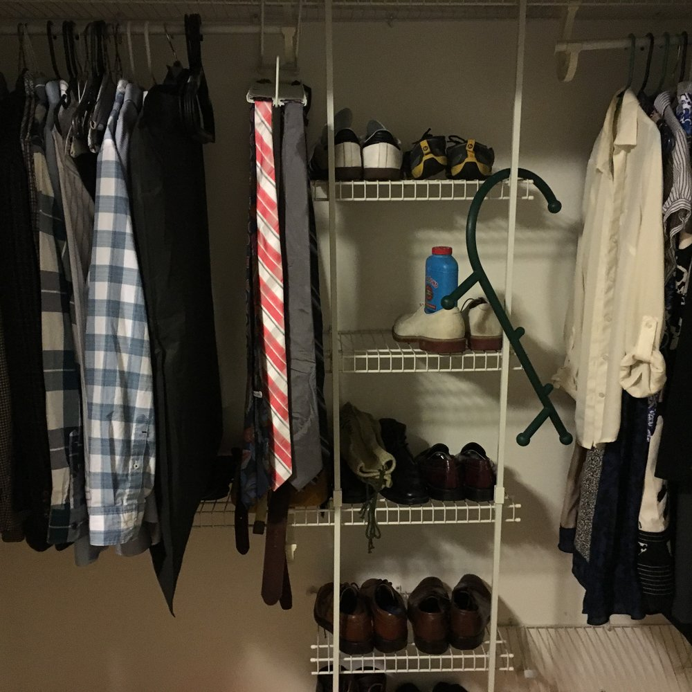 We have a new closet, which is rather rectangular and therefore photogenic. Setting up new lives feels exciting, and I wanted to share a photo of our new closet in transition.