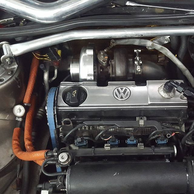Getting the new #setup on the #aba . Here is to hoping it's done before  September #lololol #staytuned #turbo #vw #mk2 #jetta #8v #Panzerperformance #performanceshop #Bradenton #florida #sarasota