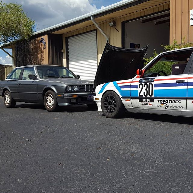 The #transformation process. You start on one side and end on the other. Once you drive one of #e30 on the track you end #racing one before long. #Panzerperformance #bmw #325i #spece30 #nasaracing #Bradenton #sarasota #shop #fifteen52east #lsi
