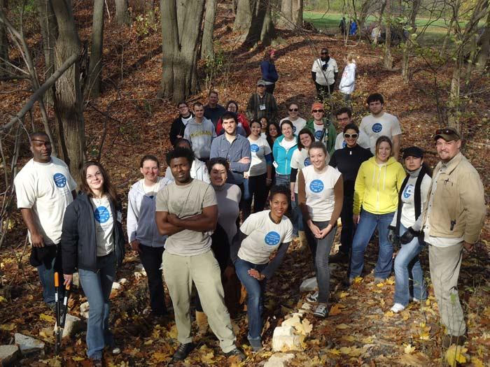 A group of C3 Leaders clearing buckthorn in Chicago's forest preserves.