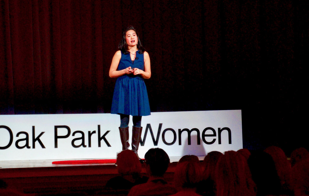 "Ana Garcia Doyle presents her TEDx Oak Park Women talk, ""Ecology and Equity: What's Possible?"" Thurs., Nov. 2, 2017 at the 19th Century Club in Oak Park, Ill."