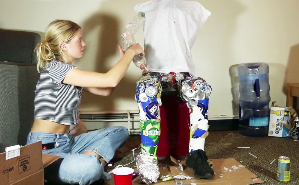 "Greer Fawcett's    ""Trash Man"" sculpture will appear at various screenings throughout the festival, holding a tablet on which her film will screen continuously."