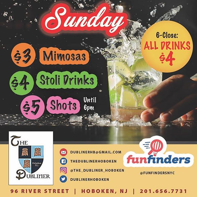 3 floors of fun. Hoboken's newest Sunday Funday spot!!! 6pm to close ALL DRINKS are $4 (excluding specialty drinks) If you have to ask what a specialty drink is, you probably shouldn't be drinking it LMAOOOOO!!! #dublinerisgreatagain  #sunday #hoboken  #wegivethepeoplewhattheywant
