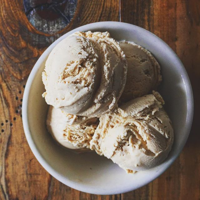 Gingerbread Ice Cream- molasses, cinnamon, cloves. Now scooping!
