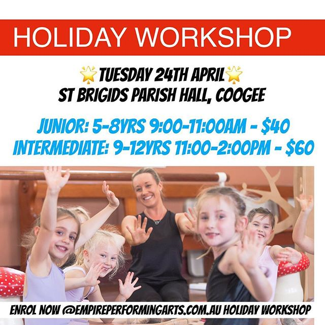 🌈 ENROL NOW 🌈  We are excited to be offering an Empire PA Holiday Workshop!  The workshop will be held on TUESDAY 24th APRIL at our beautiful studio; St Brigid's Parish Hall, Coogee. 🌟INSPIRING🌟ENERGETIC 🌟FUN  JUNIOR: 5-8yrs- 9:00-11:00am - $40  INTERMEDIATE: 9-12yrs- 11:00-2:00pm - $60  Teachers: Miss Irina, Miss Leah & Mr Nick 💥ENROL NOW @ empireperformingarts.com.au HOLIDAY WORKSHOP 💥 #holidayworkshop #coogee #coogeeholiday #easternsuburbs #easternsuburbsmums #dance #holidaydance #clovelly #bronte #waverley #maroubra #southcoogee #kensington #kingsford #sydney #royalacademyofdance #bondi #bondibeach #randwick #empire